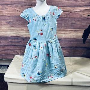 Gap Girls sz S Blue Floral Dress + Bow